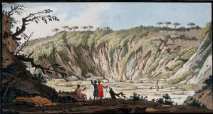 view Tufa at the bottom of the crater of Monte Nuovo near Pozzuoli, formed in a volcanic eruption in 1538. Coloured etching by Pietro Fabris, 1776.