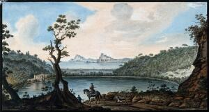 view Lake Avernus (Lago d'Averno) and environs. Coloured etching by Pietro Fabris, 1776.