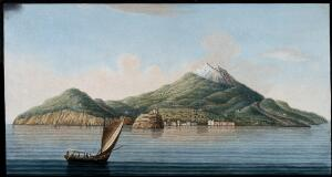 view The island of Ischia seen from the sea, showing volcanic features. Coloured etching by Pietro Fabris, 1776.