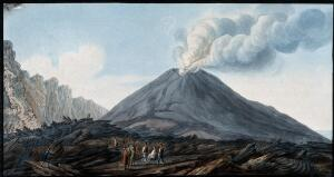 view The valley Atrio di Cavallo between Vesuvius and Somma, showing smoke emerging from Vesuvius before eruption. Coloured etching by Pietro Fabris, 1776.
