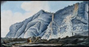 view Interior of the cone of the Somma mountain, showing strata of lava. Coloured etching by Pietro Fabris, 1776.