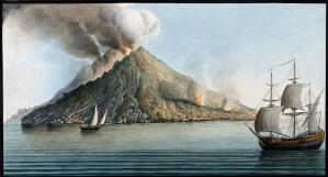 view The island of Stromboli, smoke erupting from its peak. Coloured etching by Pietro Fabris, 1776, after a drawing made by him in 1768.