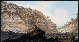 view The Fossa Grande of Mount Vesuvius, showing the deep hollow ways cut by torrents of rainwater. Coloured etching by Pietro Fabris, 1776.