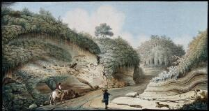 "view The road leading from the Grotto of Posillipo inland to Pianura, showing strata of ""rapilli"" and other volcanic substances. Coloured etching by Pietro Fabris, 1776."