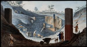 view The discovery of the temple of Isis at Pompeii, buried under pumice and other volcanic matter. Coloured etching by Pietro Fabris, 1776.