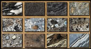 view Polished schists of marble and other mixed stones from Mount Vesuvius. Coloured etching by Pietro Fabris, 1776.