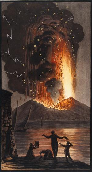 view The eruption of Mount Vesuvius in the night of 8 August 1779. Coloured etching by Pietro Fabris, 1779.