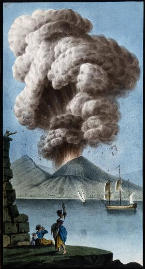 view Mount Vesuvius emitting a column of smoke after its eruption on 8 August 1779. Coloured etching by Pietro Fabris, 1779.