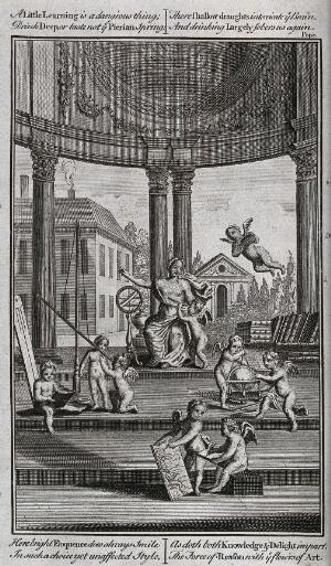 view Science: putti undertaking various experiments in an open temple or rotunda, presided over by Scientia. Engraving, c.1750.