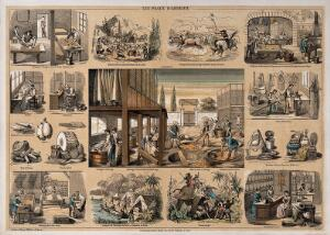 view A leather tannery, surrounded by vignettes showing the use of leather products. Lithograph by P.A. Belin and C. Bethmont.