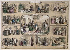 view The five senses: sight, surrounded by vignettes showing the other senses. Coloured lithograph by Belin.