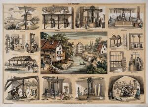 view A water-mill, surrounded by vignettes showing the use of mill machinery. Lithograph by P.A. Belin and C. Bethmont.