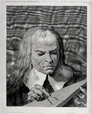 view A mathematician using dividers to draw geometrical shapes on a tablet. Engraving by N. Cavalli after G.B. Piazzetta.
