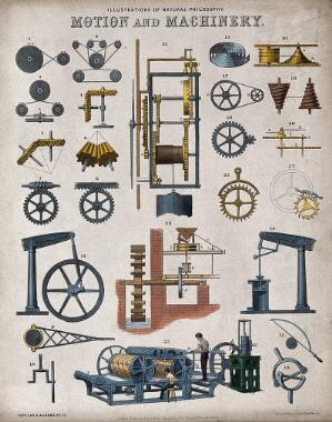 view Mechanics: various machines. Coloured engraving by J. Emslie, 1850, after himself.