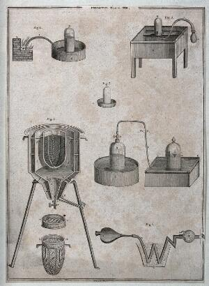 view Science: various types of forced-air calorimeter. Engraving.