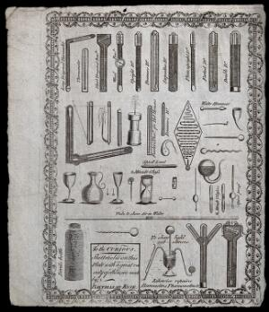 view An advertisement for a maker of glass instruments: showing thermometers, hour-glasses, and barometers. Engraving.