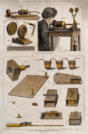 view Acoustics: an Edison phonograph with a carbon microphone. Coloured wood engraving after J.T. Balcomb.