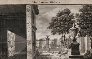 view Optics: the principle of the camera obscura. Engraving, 1752.