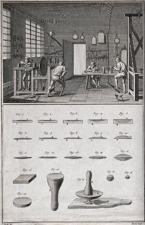 view Optics: lens grinders at work (top) and stages in grinding a lens with the tools used (below). Engraving by Benard after Lucotte.