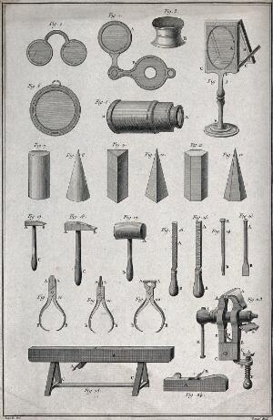 view Optics: lens grinding tools and different products with lenses. Engraving by Benard afterJ.R. Lucotte.