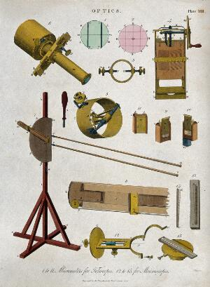 view Optics: a simple microscope. Coloured engraving by J. Pass, 1820.