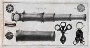 view Optics: a telescopic microscope, and hand-lenses. Aquatint, 1787 [by R. Laurie after Milne ?].