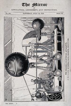 view Electricity: a large electro-static generator machine in use in a tented [?] enclosure, with many condenser jars and four operators. Wood engraving, 1839.