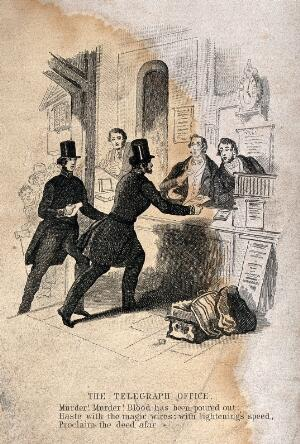 view A pair of police constables, wearing stovepipe hats, rushing to send a telegraphic report of a murder. Engraving.