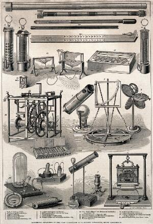 view A collection of telescopes and other optical instruments. Engraving.