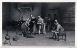view A noblewoman and two noblemen examining some gold produced by an alchemist. Engraving by G. Greatbach after A.H. Tourrier.