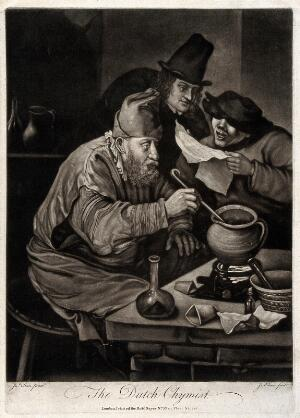 view An alchemist hunched over his crucible; an assistant reads him a recipe, watched by an onlooker. Mezzotint by J. Wilson, c. 1770, after J. Steen.