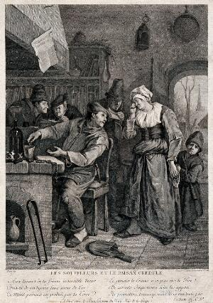 view A group of three 'puffers' (uninitiated alchemists) reading books, and a credulous peasant trying his luck at alchemy, his weeping wife and miserable child trying to detain him from alchemical pursuit. Engraving by F. Godefroy after J. Steen.