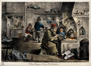 view An alchemist with his assistants in his laboratory. Coloured lithograph by J. Cullum, ca. 1840, after D. Teniers the younger, 1640/1650.