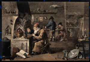 view An alchemist with his assistants in his laboratory. Coloured engraving after D. Teniers the younger, 1640/1650.
