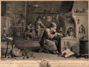 view An alchemist with his assistants in his laboratory. Engraving by J.P. Le Bas after D. Teniers.