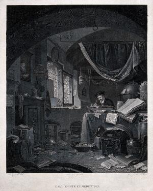 view An alchemist peacefully writing in a room strewn with papers. Engraving by V.A.L. Texier after Gianni after T. Wyck.