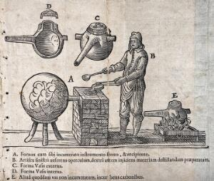 view An alchemist at a furnace with a large 'receiver', with diagrams of alchemical apparatus. Woodcut, 1658.