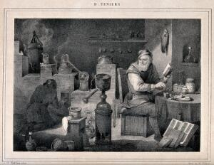 view An alchemist with an assistant in his laboratory. Lithograph after D. Teniers the younger, 1650.