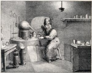 view An alchemist wearing a tall hat, sitting at a table containing his chemical instruments. Lithograph by H. Wood after F. Howard.
