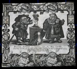 view A dwarf alchemist and his assistant standing by a crucible. Etching, 18th century.