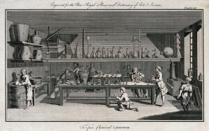 view Workers using apparatus in a chemical laboratory. Etching, ca. 1769.