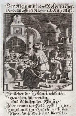 view Two alchemists seeming to produce gold from a furnace; the accompanying text satirises those who pursue alchemy for gold alone. Engraving by C. Weigel, 1698.