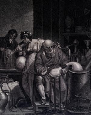 view A man in the foreground conducts an alchemical experiment with an alembic; in the background a female figure representing the world looks at a chemist, who prepares an oxygen experiment with a glass jar and a candle; representing the historical transition from alchemy to chemistry. Stipple engraving by J. Chapman, 1805, after R. Corbould.