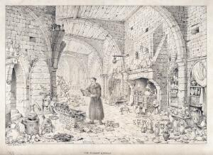 view An alchemist in a long robe standing reading above an open chest of books which he has rifled through; a large vaulted hall surrounds him, littered with alchemical apparatus. Pen and pencil drawing by J. Nasmyth, 1854.