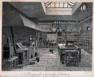 view Design for a general chemical laboratory, with the apparatus numbered. Etching by A.W. Warren, 1822, after C. Varley.