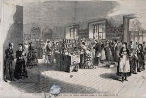 view The chemical laboratory at Massachusetts Institute of Technology, Boston: women and men at class. Wood engraving, c. 1880.