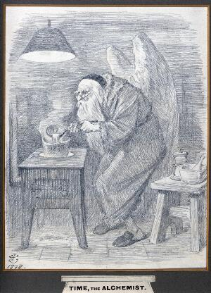 view An alchemist with angel's wings and a skull cap, pouring fluid from a ladle into a crucible. Pencil drawing by J. Tenniel, 1898.
