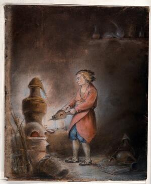 view An alchemist in a short orange gown blowing bellows into a still with an alembic. Pastel drawing.