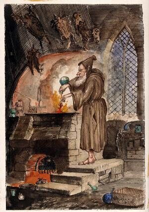 view A hooded alchemist at a furnace; above him hang dead animals: caricature. Watercolour painting.