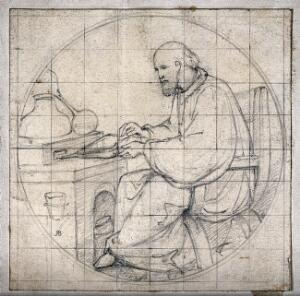 view A seated man in a monk's habit, blowing bellows, with an alembic. Pencil drawing by [A. B.].